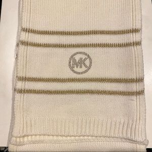 MICHAEL KORS metallic stripe MK logo knit Scarf